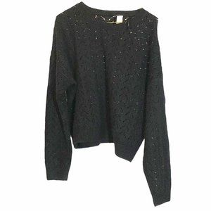 H&M Divided Black perforated Cable Knit Sweater